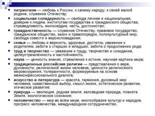 патриотизм — любовь к России, к своему народу, к своей малой родине, служение