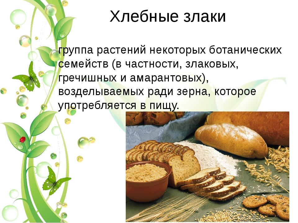 Xлебные злаки Хле́бные зерновы́е культу́ры, хлеба́ — группа растений некоторы...