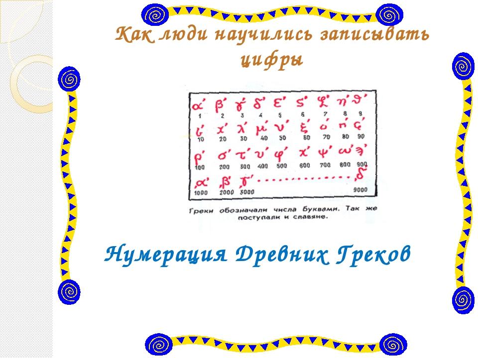 Как люди научились записывать цифры Нумерация Древних Греков