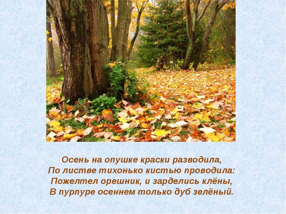 Осень на опушке краски разводила, По листве тихонько кистью проводила: Поже...