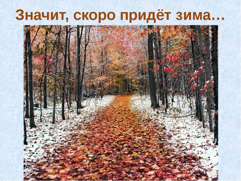 Значит, скоро придёт зима…