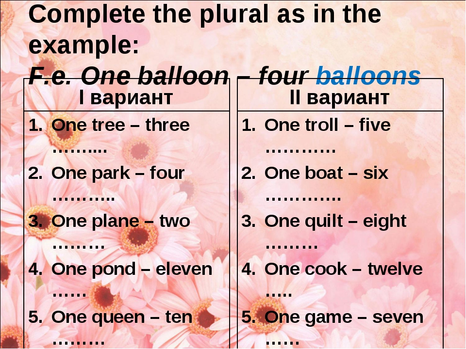 Complete the plural as in the example: F.e. One balloon – four balloons I вар...