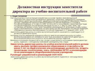 Должностная инструкция заместителя директора по учебно-воспитательной работе