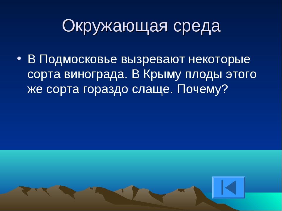 Окружающая среда В Подмосковье вызревают некоторые сорта винограда. В Крыму п...