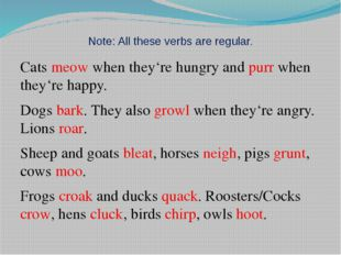 Note: All these verbs are regular. Cats meow when they're hungry and purr whe