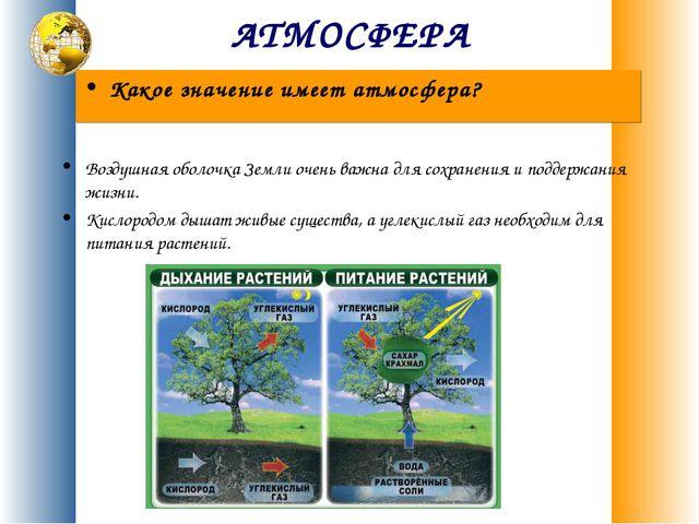 АТМОСФЕРА Воздушная оболочка Земли очень важна для сохранения и поддержания ж...