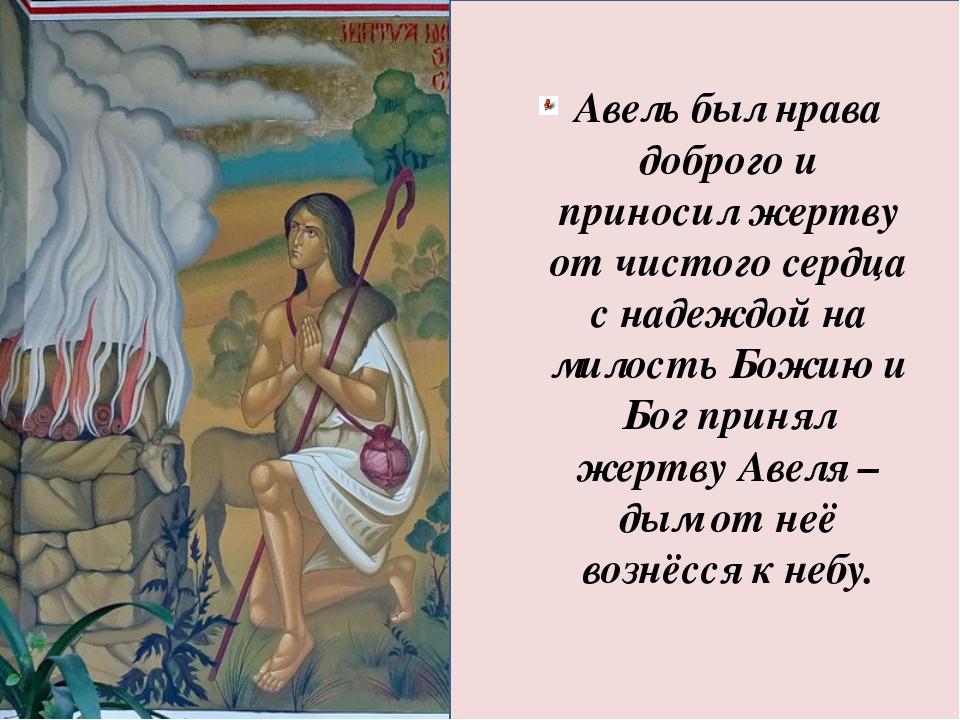 Авель был нрава доброго и приносил жертву от чистого сердца с надеждой на ми...