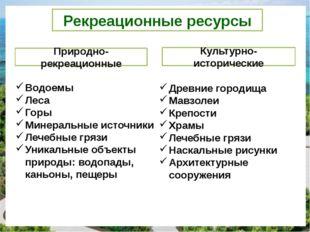 Рекреационные ресурсы Природно-рекреационные Культурно-исторические Водоемы Л
