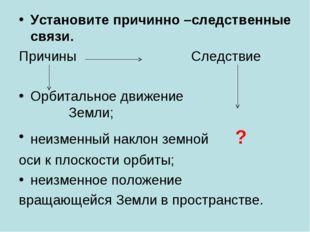 Установите причинно –следственные связи. Причины Следствие Орбитальное движен