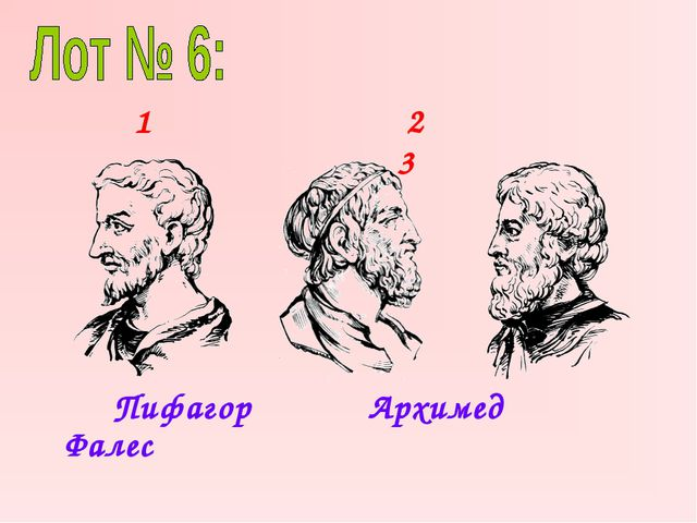 Пифагор Архимед Фалес 1 2 3