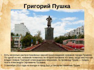 Григорий Пушка Есть несколько распространённых версий происхождения названия