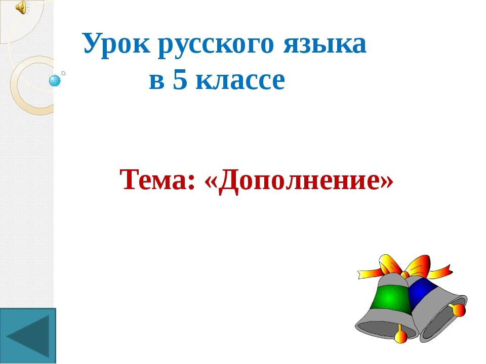Урок русского языка в 5 классе Тема: «Дополнение»