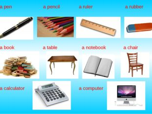 a pen a pencil a ruler a rubber a book a table a notebook a chair a calculato
