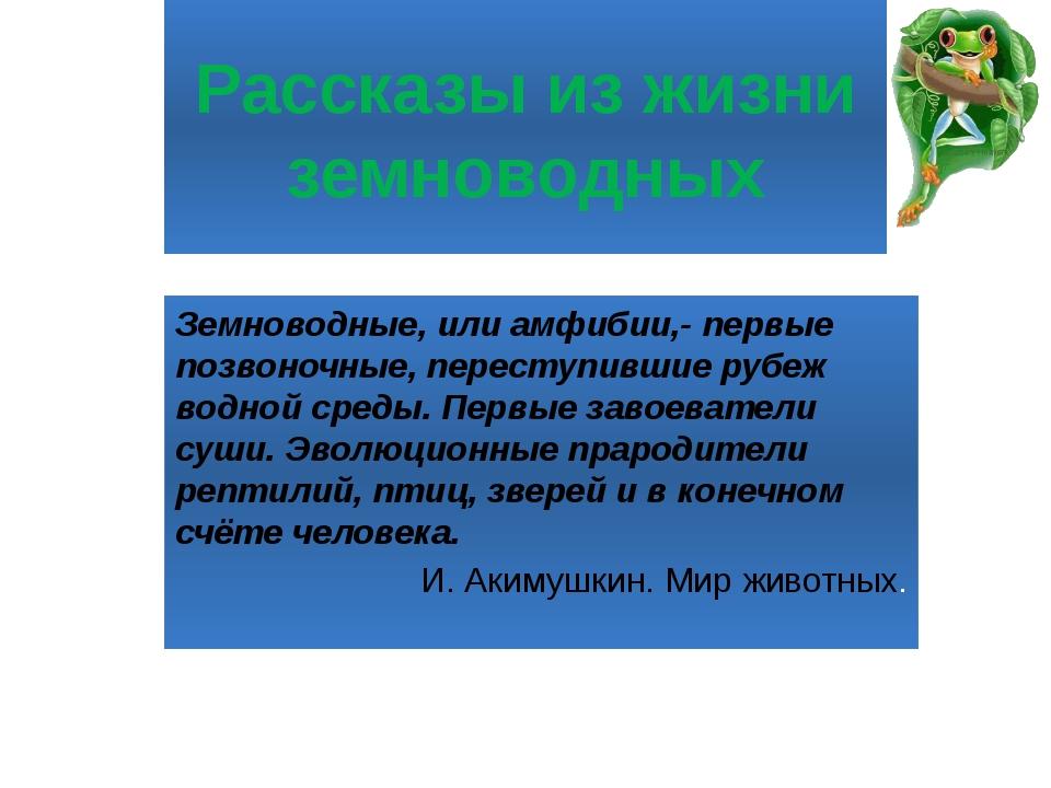 Рассказы из жизни земноводных Земноводные, или амфибии,- первые позвоночные,...