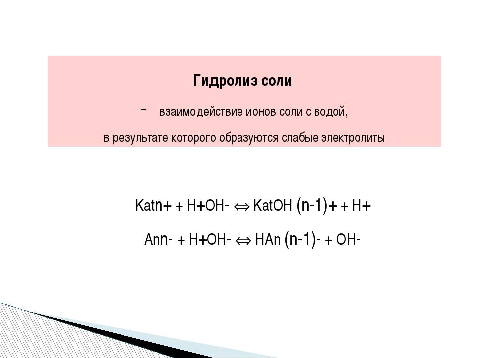 Степень гидролиза h отношение числа гидролизованных молекул к общему числу р...