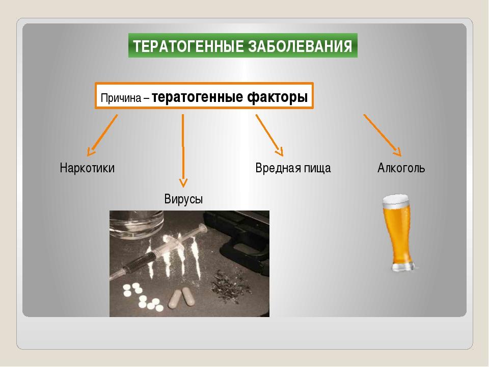 ТЕРАТОГЕННЫЕ ЗАБОЛЕВАНИЯ Причина – тератогенные факторы Наркотики Вирусы Алко...