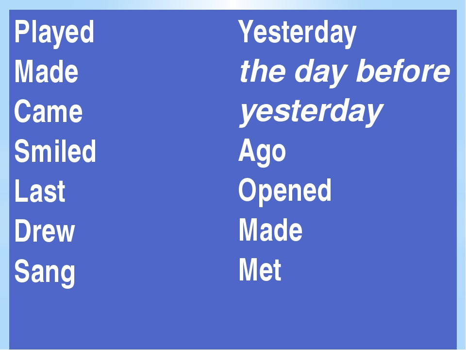 Played Made Came Smiled Last Drew Sang Yesterday the day before yesterday Ag...