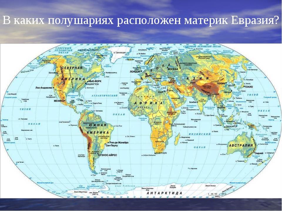 В каких полушариях расположен материк Евразия?