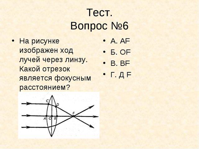 Тест. Вопрос №6 На рисунке изображен ход лучей через линзу. Какой отрезок явл...
