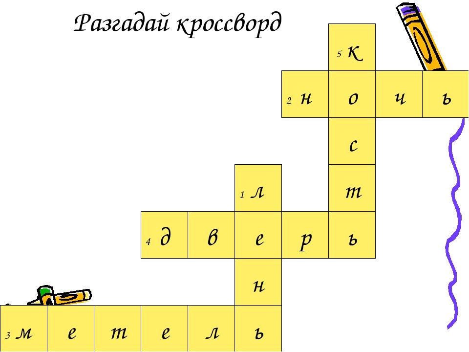 Разгадай кроссворд т ь в е 4 д е л р ь е 1 л н 3 м с т о 5 к ь 2 н ч