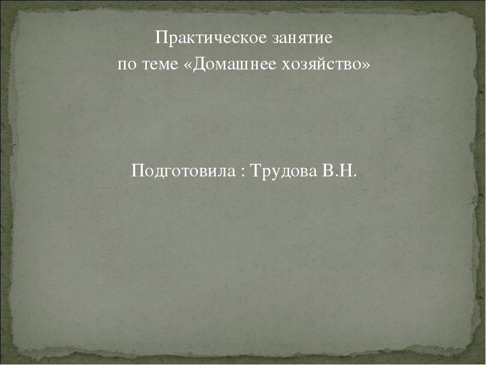 Практическое занятие по теме «Домашнее хозяйство» Подготовила : Трудова В.Н.