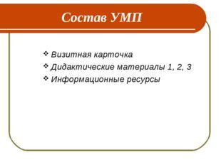 Состав УМП Визитная карточка Дидактические материалы 1, 2, 3 Информационные р