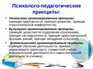 Психолого-педагогические принципы: Личностно ориентированные принципы (принци