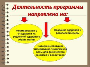 Деятельность программы направлена на: Формирование у учащихся и их родителей