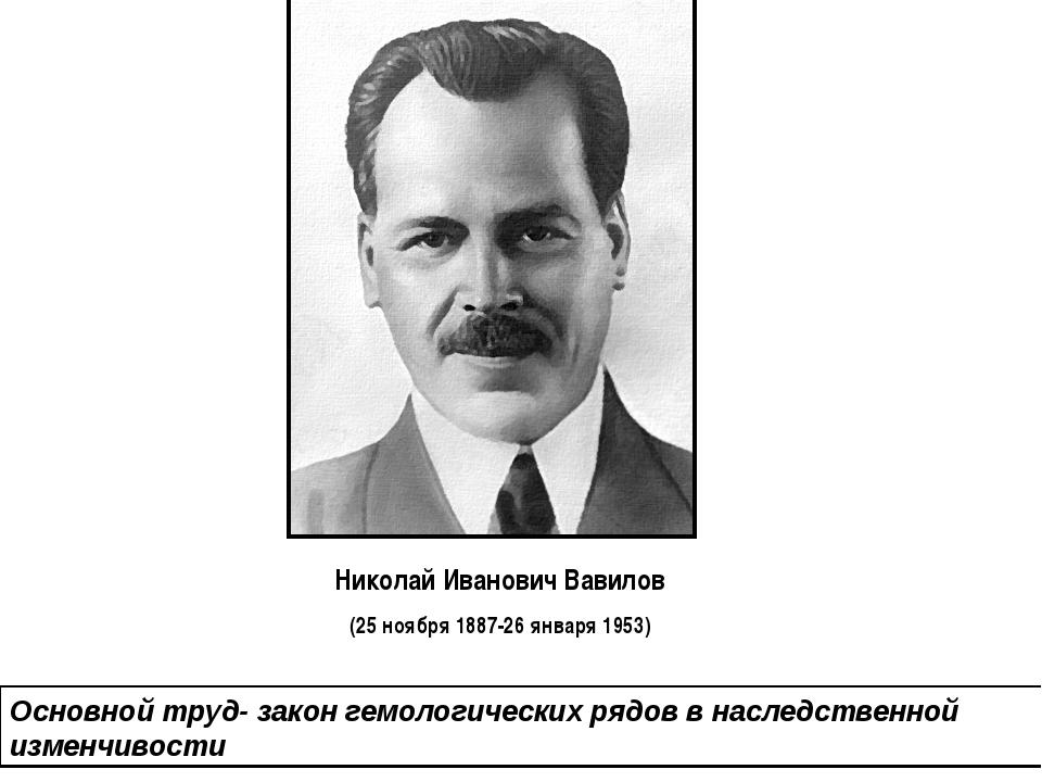 Николай Иванович Вавилов (25 ноября 1887-26 января 1953) Основной труд- закон...