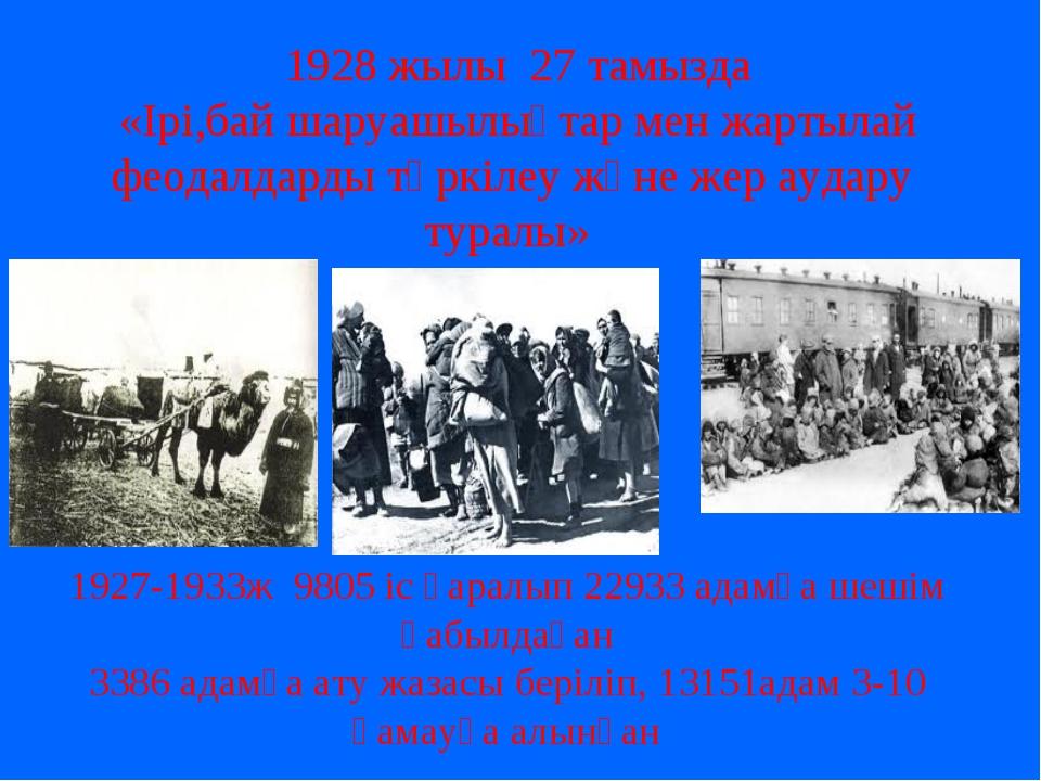 1928 жылы 27 тамызда «Ірі,бай шаруашылықтар мен жартылай феодалдарды тәркіле...