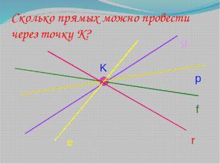 Сколько прямых можно провести через точку К? K g p f e r