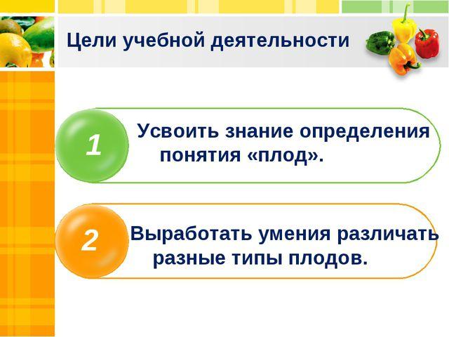 Цели учебной деятельности 1 2 Усвоить знание определения понятия «плод». Выра...
