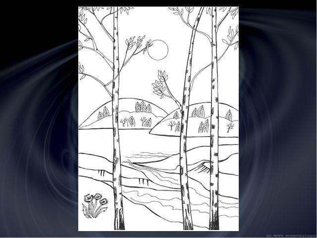 Поэтапное рисование пейзажа с цветами