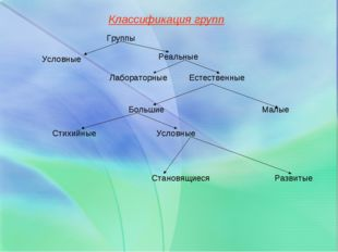 Классификация групп Группы Условные Реальные Лабораторные Естественные Больш