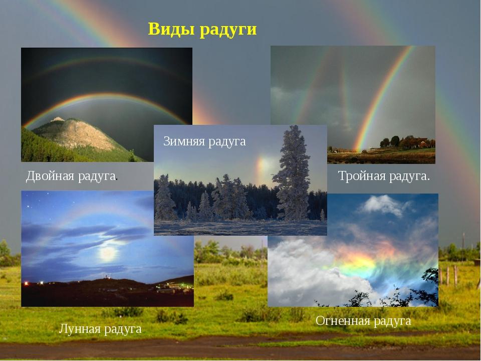 Виды радуги Двойная радуга. Тройная радуга. Лунная радуга Огненная радуга Зим...