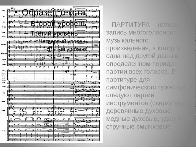 ПАРТИТУРА - нотная запись многоголосного музыкального произведения, в которо...
