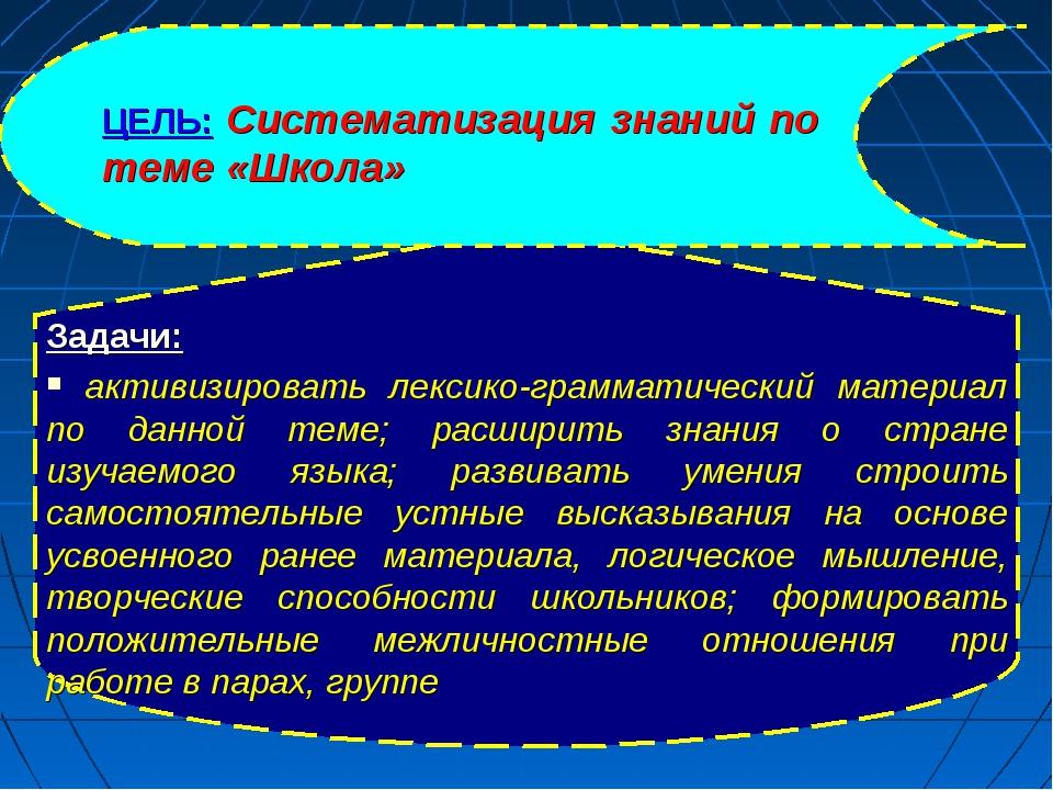 ЦЕЛЬ: Систематизация знаний по теме «Школа» Задачи: активизировать лексико-гр...