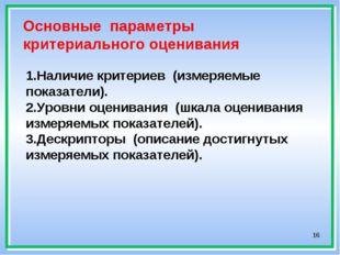 * Основные параметры критериального оценивания 1.Наличие критериев (измеряемы