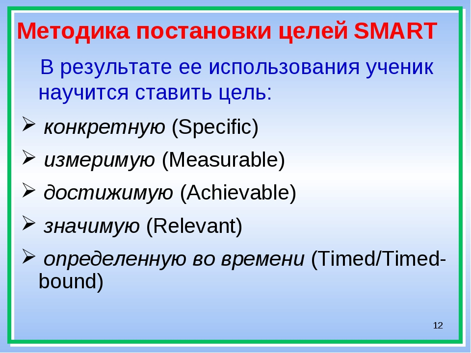 * Методика постановки целей SMART В результате ее использования ученик научит...