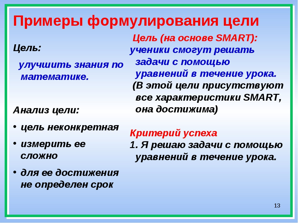 * Примеры формулирования цели Цель: улучшить знания по математике. Анализ цел...