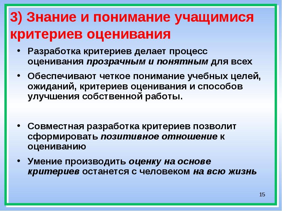 * 3) Знание и понимание учащимися критериев оценивания Разработка критериев д...