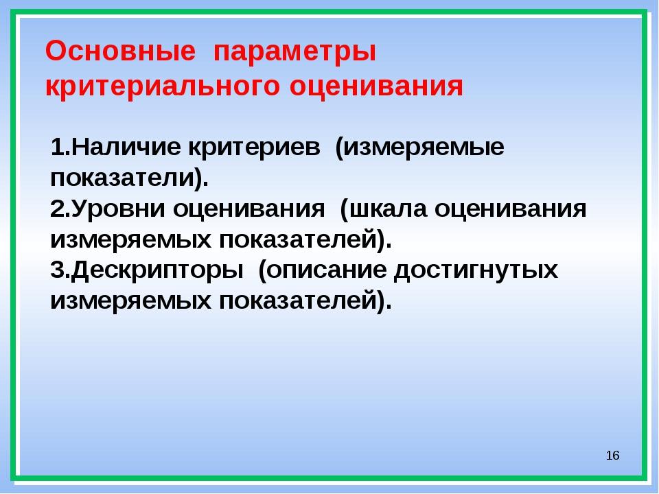 * Основные параметры критериального оценивания 1.Наличие критериев (измеряемы...