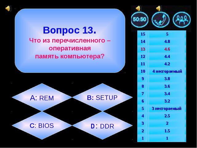 Вопрос 13. Что из перечисленного – оперативная память компьютера? А: REM D :...