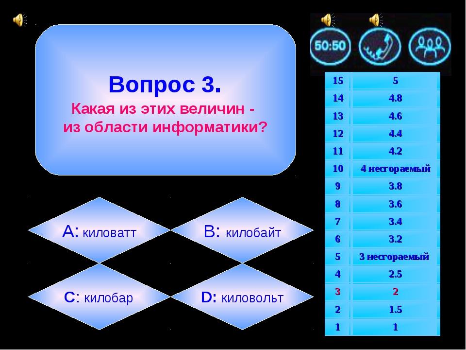 Вопрос 3. Какая из этих величин - из области информатики? А: киловатт B: кил...