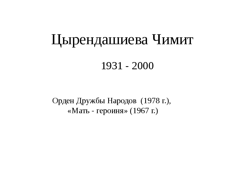Цырендашиева Чимит 1931 - 2000 Орден Дружбы Народов (1978 г.), «Мать - героин...