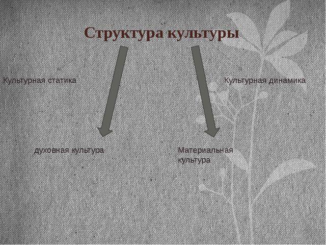 Структура культуры Культурная статика Культурная динамика Материальная культу...