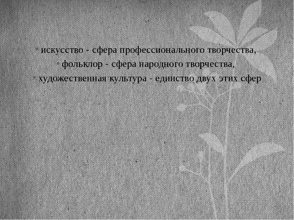 искусство - сфера профессионального творчества, фольклор - сфера народного тв...