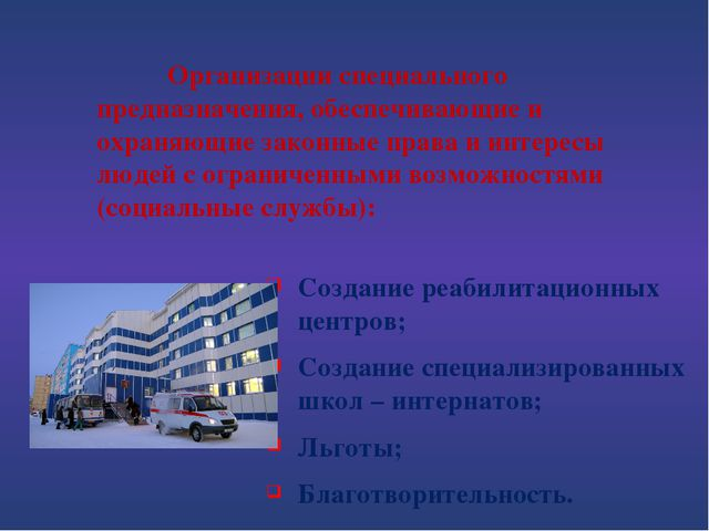 Создание реабилитационных центров; Создание специализированных школ – инте...