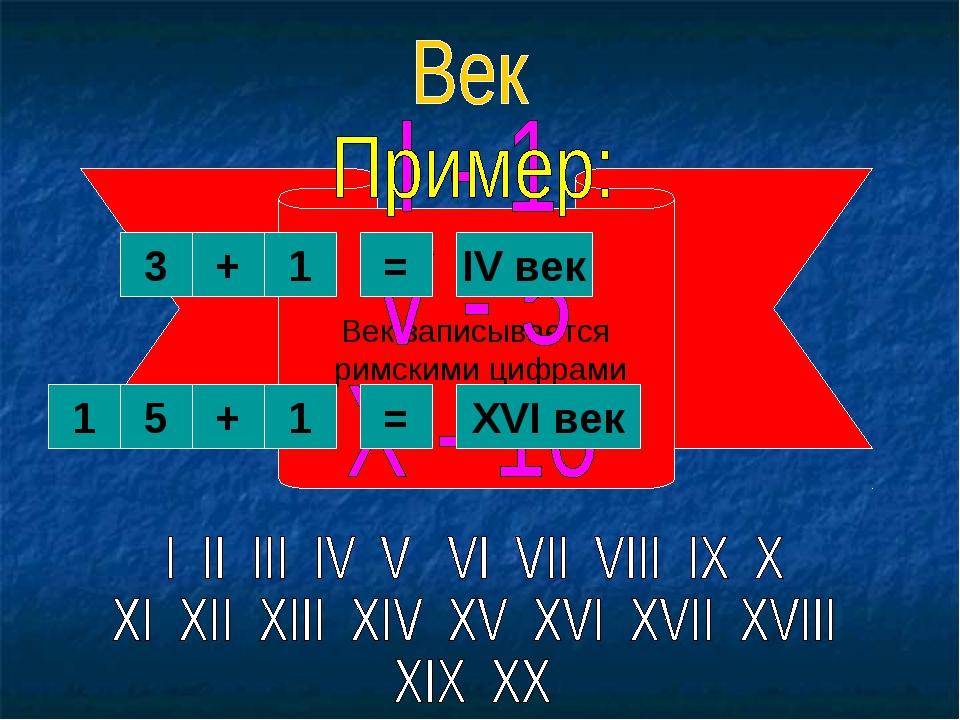 Век записывается римскими цифрами 3 4 3 = + 1 IV век 1 5 3 3 = + 1 XVI век