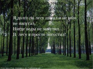Я долго по лесу шагал и не кого не напугал, Нигде воды не замутил… В лесу я